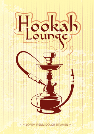 hookah: Hookah bar vector poster. Tobacco and relax, turkish or arabic illustration