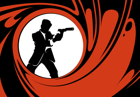 Secret agent or spy vector silhouette. Detective person, police man with weapon illustration 일러스트
