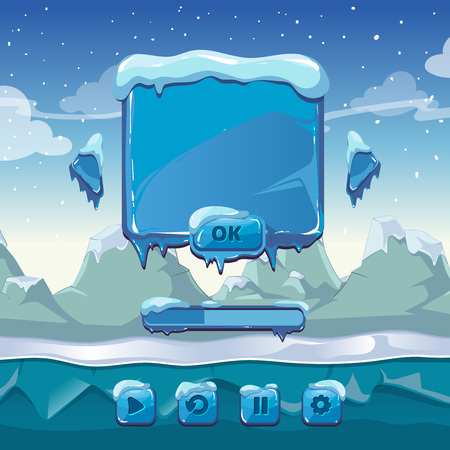gui: Main winter game menu. Interface cartoon gui, ice and cold, app button, vector illustration