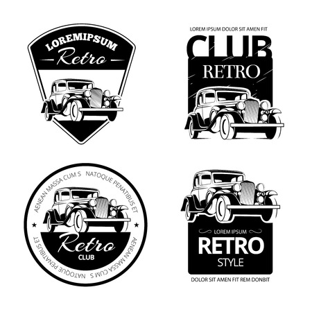 Classic muscle car vector labels, emblems and badges set.  Retro vehicle, old automotive transportation logo illustration Ilustracja