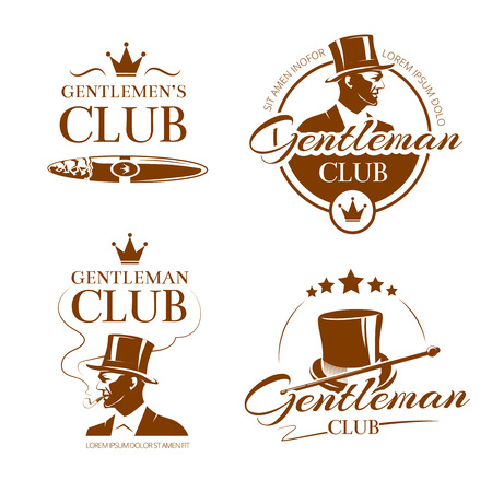Vintage gentleman club vector emblems, labels, badges. Fashion man illustration, elite classic