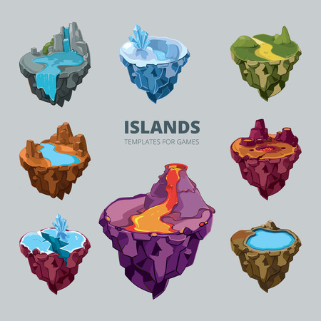 Isometric 3d set of flying islands. Landscape cartoon nature, land fantasy, rock and ground and mountain for game, vector illustration