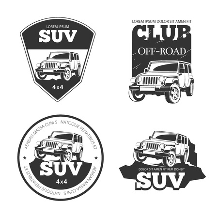 autosport: Suv car vector emblems, labels and logos. Offroad extreme expedition, 4x4 vehicle illustration