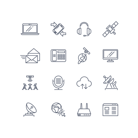 communication icons: Communication and web vector line icons. Mobile communication technology sign, internet icon, computer phone network icon illustration