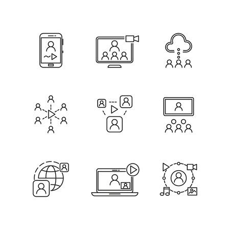 Video conference and online communication vector line icons. Conference online, communication business conference sign,  online videochat communicating illustration Illustration