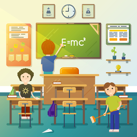 Kids cleaning classroom. Cleaning blackboard, cleaning class, cleaning chalkboard, boy sweeping. Vector illustration 向量圖像