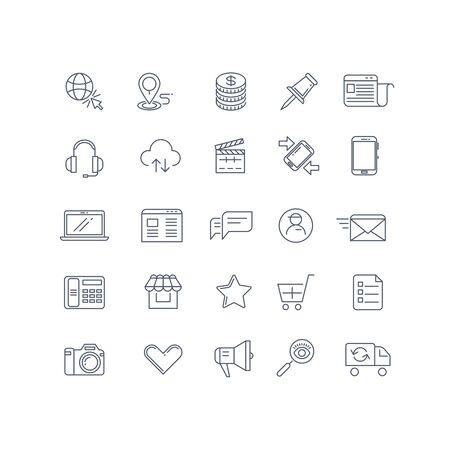 gestion empresarial: establecen la comercialización del Internet iconos de líneas de vector. icono de web marketing, negocio del Internet, la tecnología de marketing, comercio electrónico ilustración de marketing