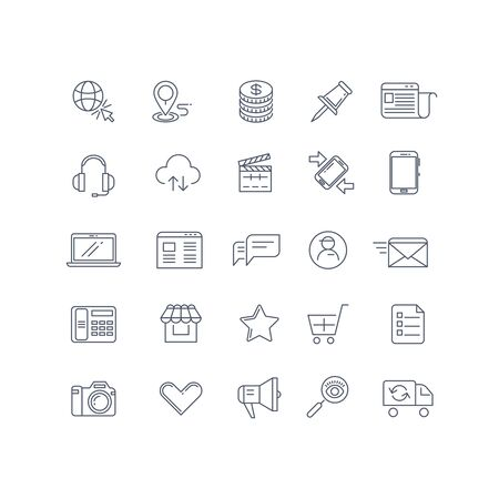 web marketing: Internet marketing vector line icons set. Web marketing icon, internet business, marketing technology, e-commerce marketing illustration