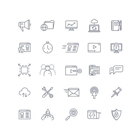 keyword: Search engine optimization, seo service vector line icons set. service seo, optimization website, search keyword, seo management icon, network service sign illustration Illustration