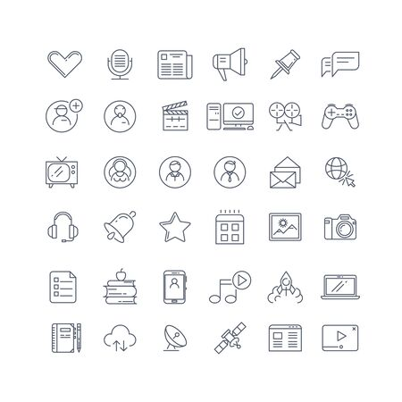 mobile communication: Social media, network line vector icons set. Social web network, internet media communication, mobile communication illustration