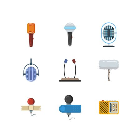 media equipment: Different microphones and dictaphone vector flat icons. Dictaphone icon, microphone icon, media equipment, audio record dictaphone, compact microphone device, recorder sound illustration