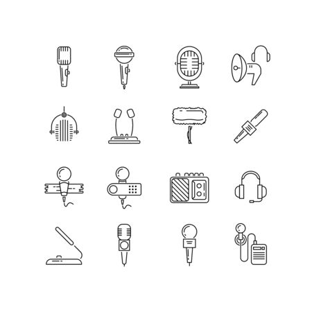 Microphone, speaker vector line icons. Microphone device, media speaker, audio speaker, microphone record technology, compact dictaphone illustration