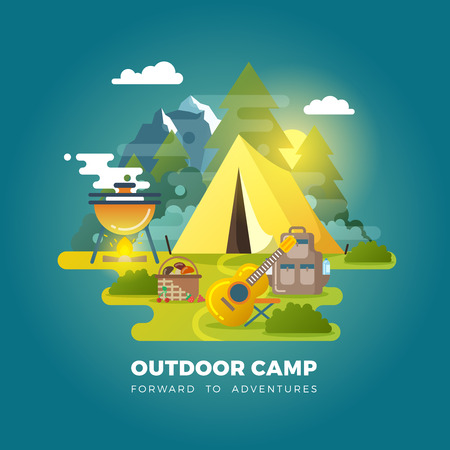 Vector camping background with tourist tent. Camping outdoor, travel camp, tourism camp with tent illustration Illustration