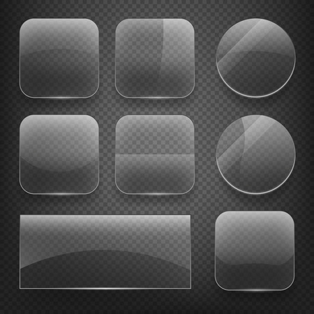 plastics: Glass square, rectangular and round buttons on checkered background. Gloss glass, blank glass, empty round glass, shiny glass button, rectangular transparent glass. Vector illustration icons set