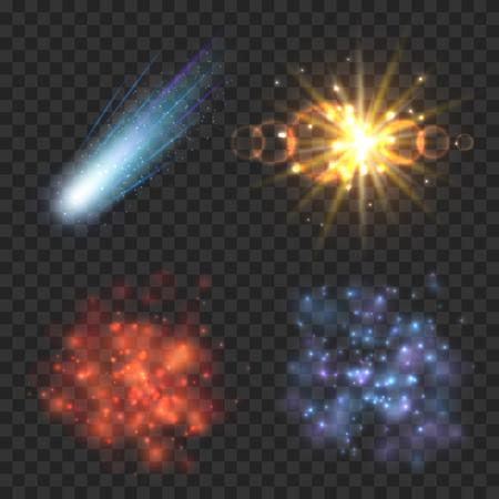 espacio estrellas, cometas y explosión en el fondo transparencia a cuadros. luz de la estrella, cometa explosión, estrella galaxia, nebulosa y explosión ilustración de meteoritos