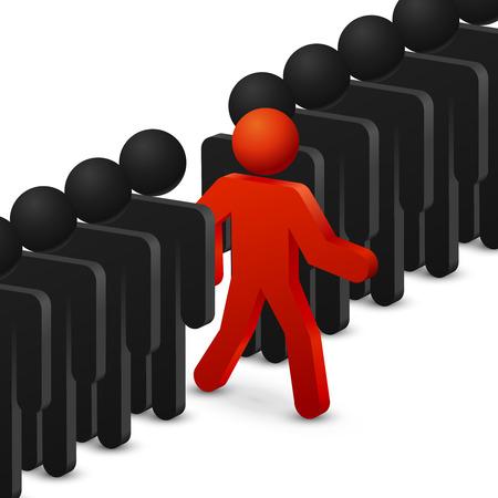 liderazgo empresarial: Concepto de liderazgo y originalidad. Ejecutar a las oportunidades. el liderazgo en crecimiento, liderazgo éxito, oportunidades de negocios, trabajador líder. ilustración vectorial
