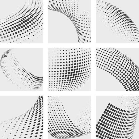 Los puntos de semitono Fondos abstractos del vector fijados. Dot elemento de modelo, puntos de diseño, ilustración gradación de la onda del punto