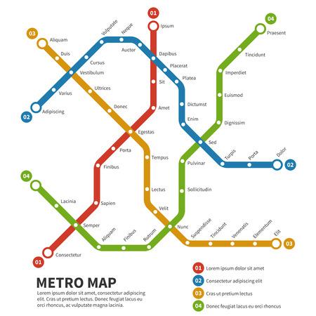 TRANSPORTE: Metro, mapa vectorial de metro. Plantilla del plan de transporte de la ciudad. Esquema mapa del metro, camino de metro de metro, el transporte por ferrocarril subterr�neo ilustraci�n Vectores