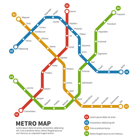 Subway, metro vector map. Template of city transportation scheme. Scheme map underground, metro subway road,  transportation railway subway illustration