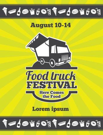 Street food festival design of vector poster. Banner truck festobal food, poster food festival illustration Vetores