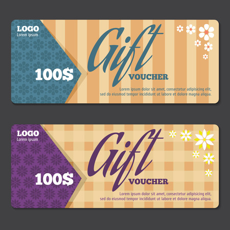 Gift certificate design template. Voucher gift, coupon gift certificate, special gift price. Vector illustration