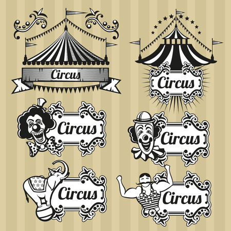 circo: emblemas circo vector vendimia, logotipos, etiquetas establecidas. emblema del circo, logotipo de circo retro, carnaval circo carpa de la ilustración Vectores