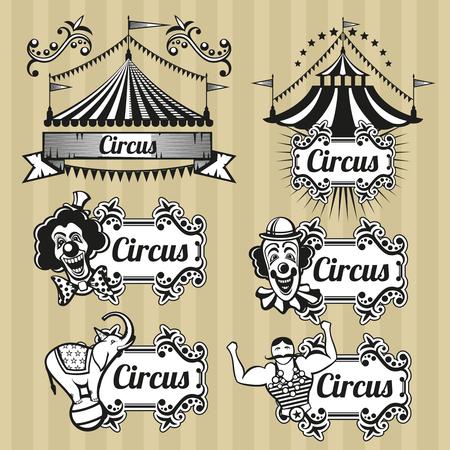clown cirque: Vintage emblèmes de vecteur de cirque, logos, étiquettes définies. emblème de cirque, rétro logo de cirque, carnaval cirque tente illustration Illustration
