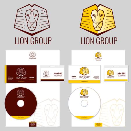 Lion logo vector templates set for your business. Branding logo, animal logo head, emblem branding lion illustration Illustration