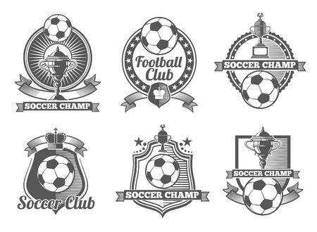 サッカーやサッカーのビンテージ ベクトル ラベル、ロゴ、エンブレム。サッカー スポーツ、サッカー ラベル、サッカー バッジ、サッカーのエンブ