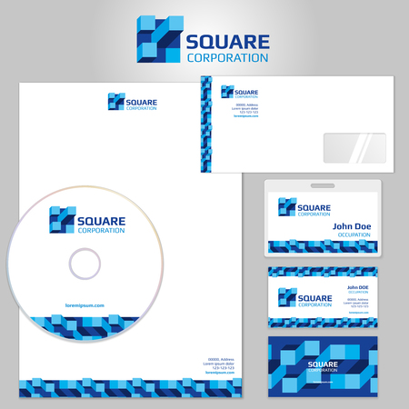 Stationery vector template with blue geometric elements and square logo. Business branding company, stationery object geometric logo branding, corporate branding element illustration