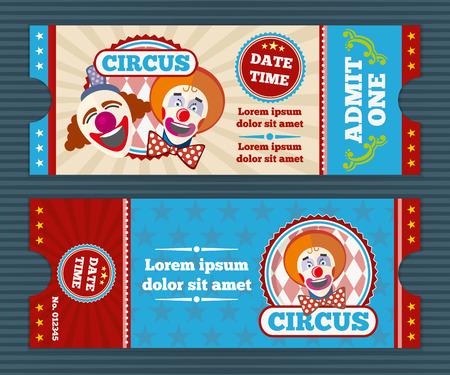 Circus ticket vector template. Circus invitation coupon, clown circus, card pass to circus illustration Illustration