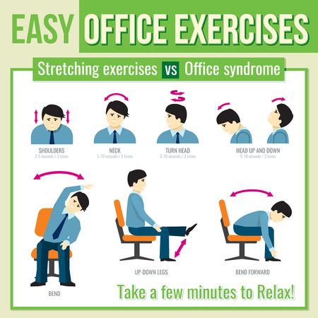Bureau oefent met zakenman karakter. Relax oefening, infographic gezondheid oefening, man hoofd beurt oefening. Vector illustratie infographic