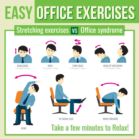 Office exercises with businessman character. Relax exercise, infographic health exercise, man head turn exercise. Vector illustration infographic Vettoriali