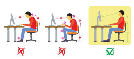 Correct and bad spine sitting posture. Vector diagram in flat style. Correct spine, bad position, correct and bad sit illustration Vettoriali