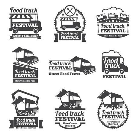 еда: Продукты питания грузовик фестиваля эмблемы и логотипы векторный набор. Фестиваль уличной еды, праздник еды значок, эмблема еды иллюстрация грузовик