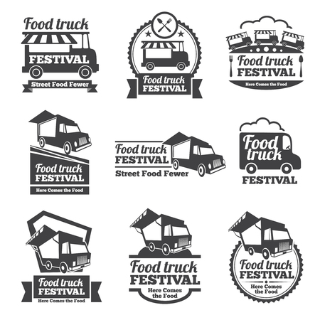 Food truck festival emblems and logos vector set. Festival street food, badge food festival, emblem food truck illustration Vettoriali