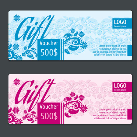 Gift voucher vector template. Voucher coupon, card gift, certificate gift, label paper gift, special voucher gift illustration Illustration