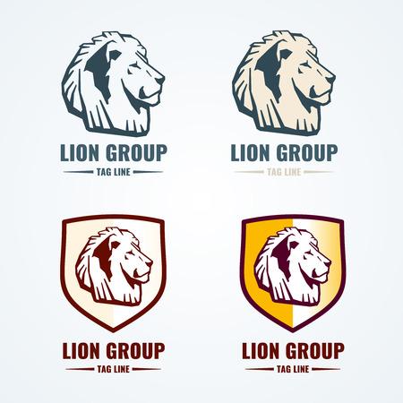 Vintage lion logotypes vector set. Logo animal lion, head lion emblem, brand lion illustration