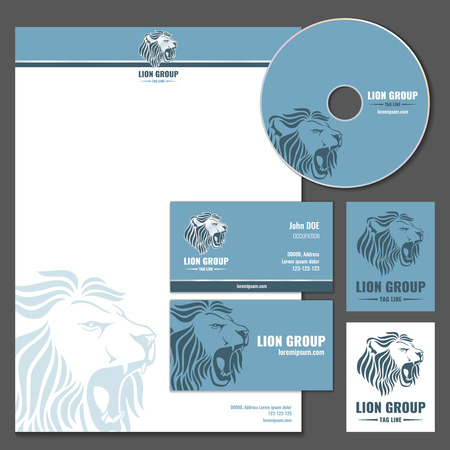head paper: Business card vector template with lion logo. Business branding, company brand lion, wild lion letterhead illustration
