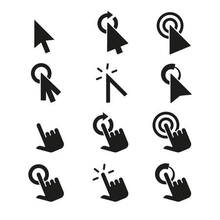 cursor: Click icons and hand cursor signs vector set. Cursor sign, illustration, click cursor, pointer set cursor, arrow computer cursor