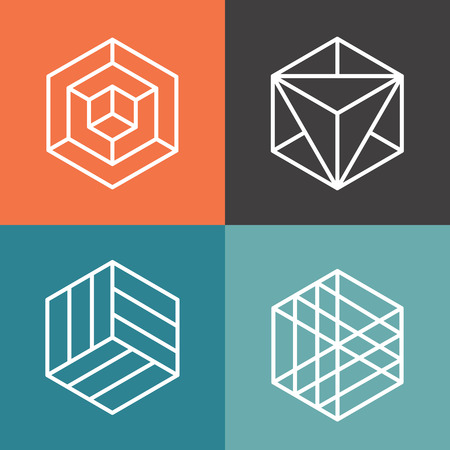 Hexagon vector logo's op hoofdlijnen lineaire stijl. Logo zeshoek, abstract zeshoek, geometrische logo hexagon illustratie