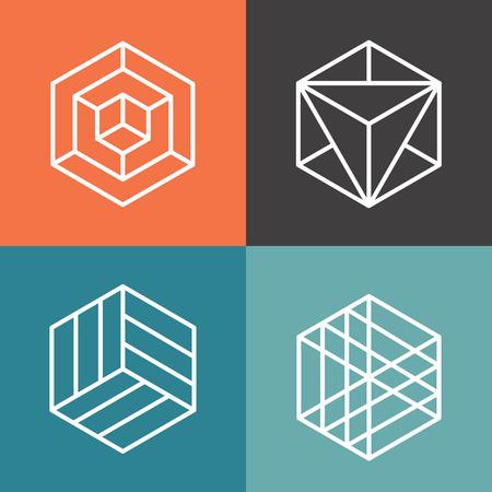 Hexagonales logotipos de vectores en el estilo lineal de contorno. Logotipo de hexágono, hexagonal extracto, logotipo geométrico hexágono ilustración