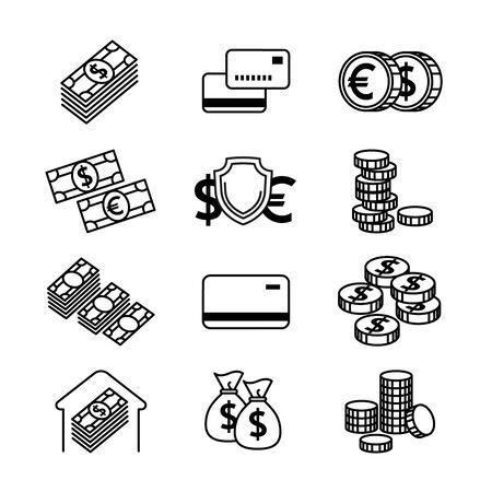Money line vector icons set. Money finance,  credit card bank, commerce currency coin, cash money, gold money illustration