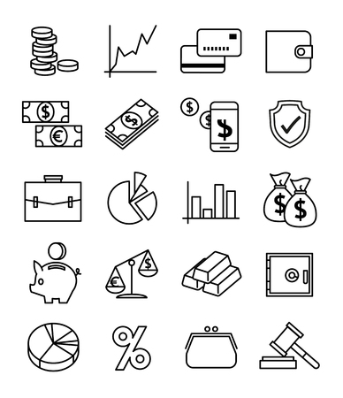Finance, payments and money line vector icons set. Finance money, business finance, banking money credit, cash money illustration