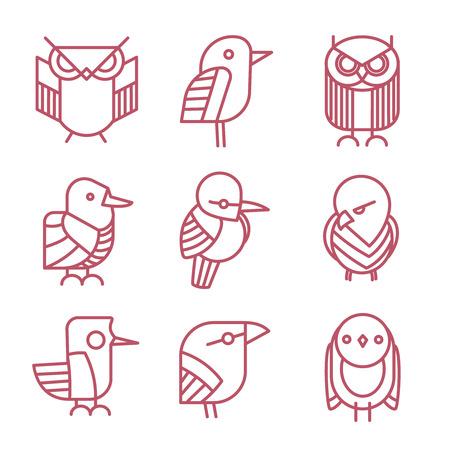 Bird vector linear icons set. Bird icon, nature bird animal, sparrow bird, dove bird emblem, wild bird owl illustration