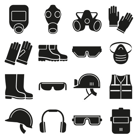 personal protective equipment: Job safety equipment vector icons set. Safety helmet, equipment for industry job, safety protection mask,  safety glove and glasses illustration