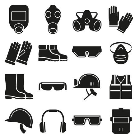 Praca urządzenia bezpieczeństwa ustawiony ikon wektorowych. Kask ochronny, Sprzęt do pracy w branży, bezpieczeństwo ochrona maski, rękawice ochronne i okulary ilustracji