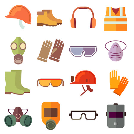 botas: Iconos del equipo de seguridad de vector de trabajo plana. Icono de seguridad, medios de casco, trabajo industrial, cascos de seguridad y protecci�n de la ilustraci�n de arranque