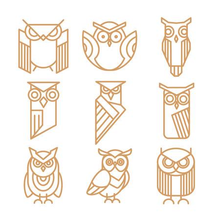 insignia: logotipos línea búho, emblemas y etiquetas conjunto de vectores. logotipo del búho, búho arte pájaro, búho insignias logotipo ilustración
