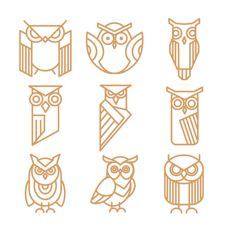 Owl line logos, emblems and labels vector set. Owl logo, bird owl art, insignia owl logotype illustration Illustration